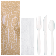 9.5 in x 3.25 in Printed Cutlery Pouches with White Cutlery 100 ct.