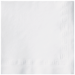 5 in Greek Key Embossed White Beverage Napkins