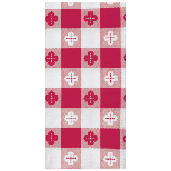 7.5 in x 4.25 in Coin Embossed Red Gingham Dinner Napkins 1000 ct.