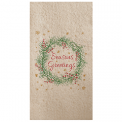 8 in x 4.25 in Linen-Like Seasons Greetings Dinner Napkins 300 ct.