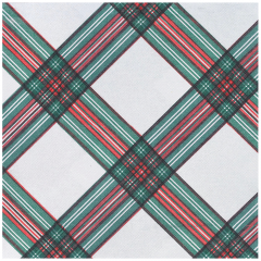 15.5 in x 15.5 in FashnPoint Christmas Plaid Dinner Napkins Flat Pack 800 ct.