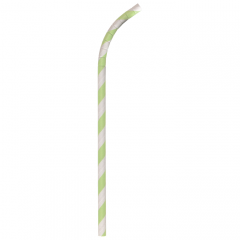 "Green & White Striped Compostable Wrapped Flexible Paper Straws, 7-3/4"" x .25"""