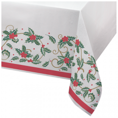 50 in x 108 in Linen-Like Holiday Holly Tablecloths 24 ct.