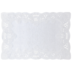 10 in x 14 in Normandy Embossed Lace Scalloped White Paper Placemats 1000 ct.