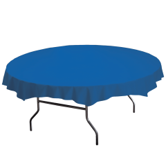 82 in Blue Plastic Octy-Round Tablecloths 12 ct.