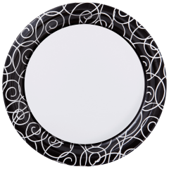 9 in Silver Swirl Paper Plates 200 ct.