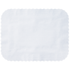12.75 in x 16.5 in Mastercraft Embossed Scalloped White Paper Traymats 1000 ct.