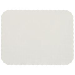 12.75 in x 16.5 in Knurl Embossed Scalloped White Paper Traymats 1000 ct.