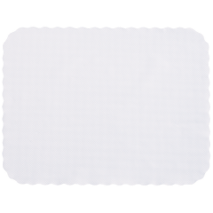 14 in x 19 in Knurl Embossed Scalloped White Paper Traymats 2000 ct.