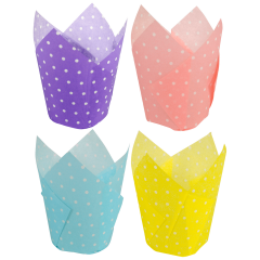 4 in Large Multicolor Polka Dots Paper Tulip Cups 500 ct.
