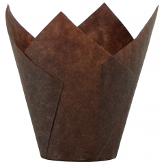 2.5 in Mini Chocolate Brown Paper Tulip Cups 1000 ct.