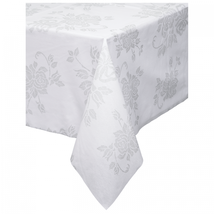 225 & 82 in x 82 in Linen-Like Silver Floral Tablecloths 24 ct.