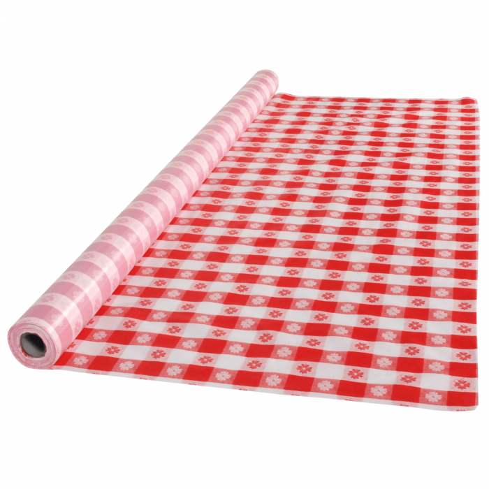 225 & 40 in x 100 ft Red Gingham Plastic Table Roll 1 ct.