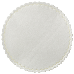 305-W White Cellulose Coaster, Scalloped Edge