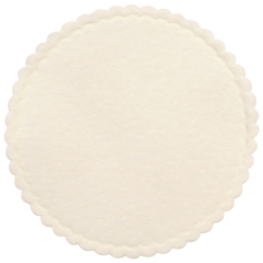 307 White Coaster, Non-woven w/wax backing, Scalloped Edge