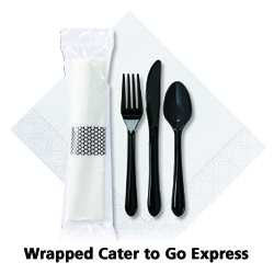 7.5 in x 4.25 in Pre-rolled Cater To Go Express White Dinner Napkins with Black Cutlery 100 ct.